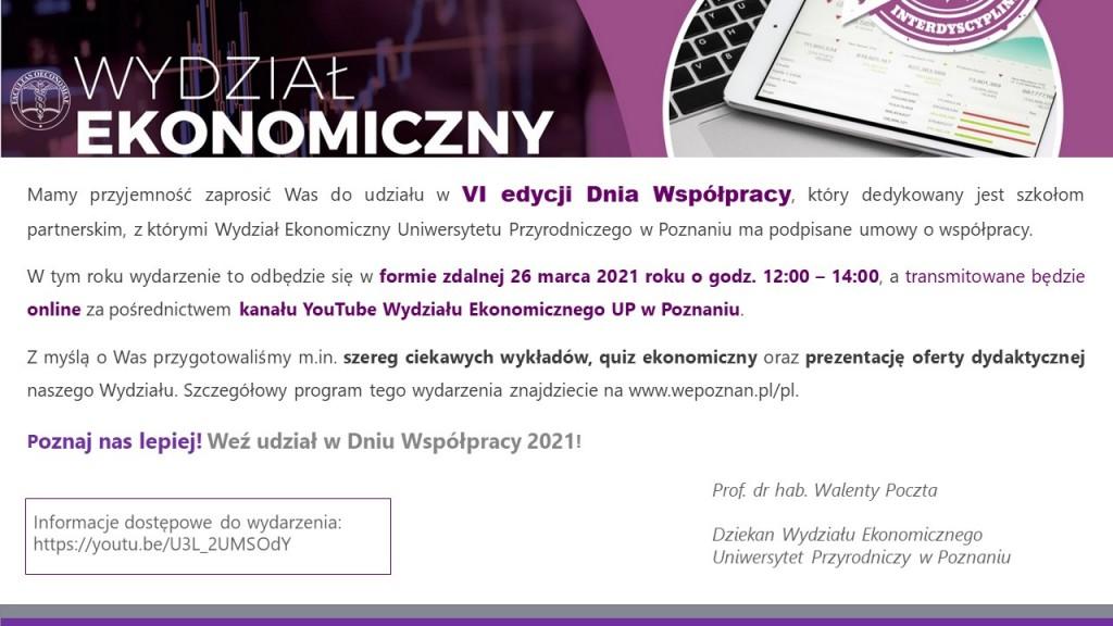 Zaproszenie do udziału w Dniu Współpracy - Uniwersytet Przyrodniczy w Poznaniu