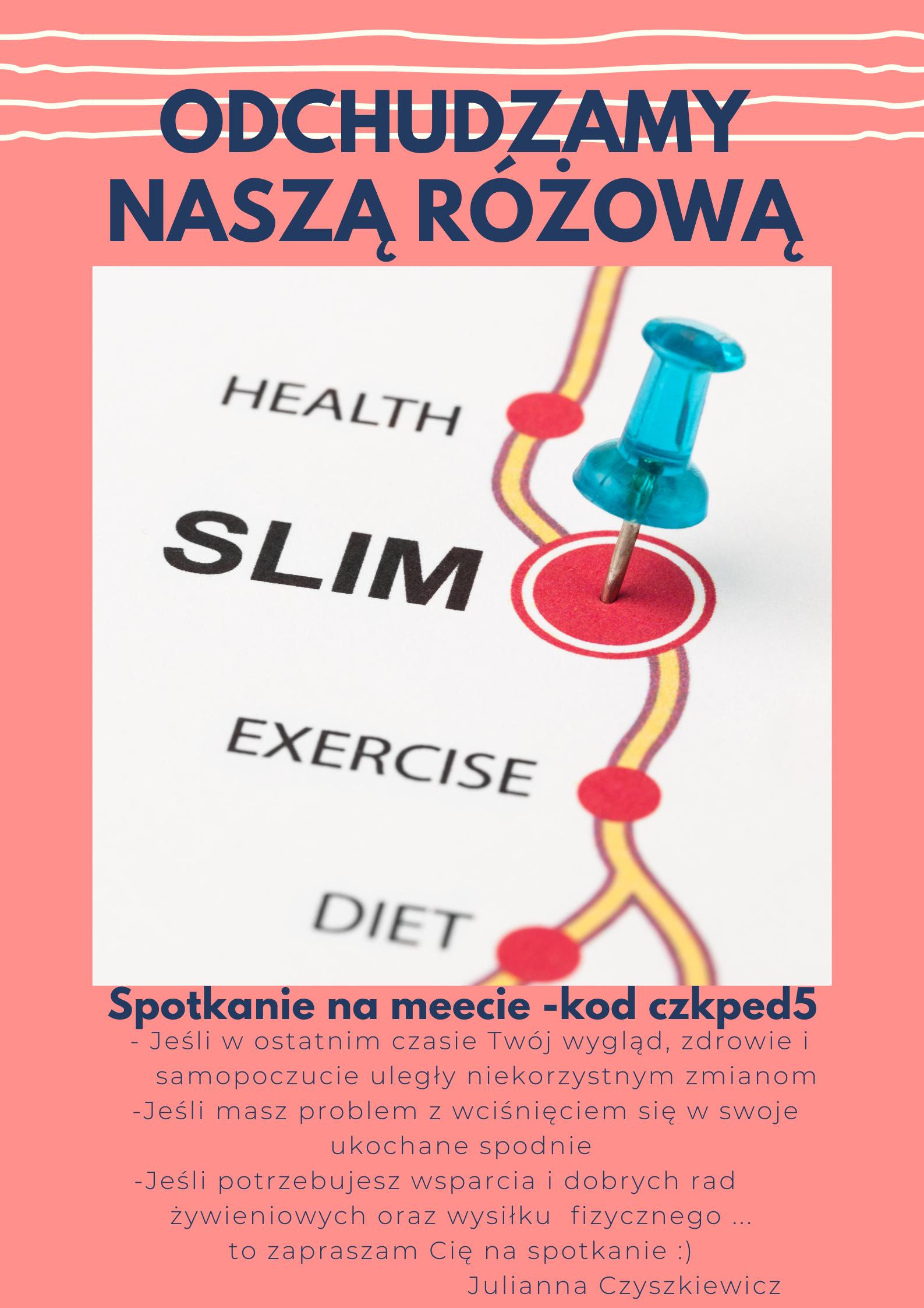 Spotkanie na meecie – kod czkped5 - Jeżeli w ostatnim czasie Twój wygląd, zdrowie i samopoczucie uległy niekorzystnym zmianom - Jeżeli masz problem z wciśnięciem się w swoje ukochane spodnie - Jeśli potrzebujesz wsparcia i dobrych rad żywieniowych oraz wysiłku fizycznego … To zapraszam Cię na spotkanie :) Julianna Czyszkiewicz